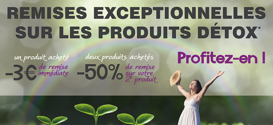 Jusqu'au 7 MAI, bénéficiez de remises exceptionnelles sur les produits détox !